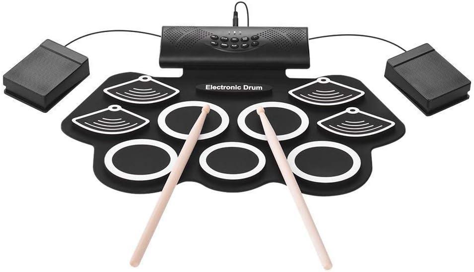 Batería electrónica, electrónica plegable de juego de batería con USB, altavoces, Pedales, palillos, Pedal 2 pulgadas del pie, de vacaciones de cumpleaños regalo de los niños kyman