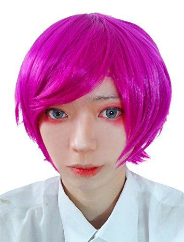 [Nuoqi Sweet Anime Girls Annie Magenta Short Hairs Cosplay Wigs] (League Of Legends Annie Cosplay Costume)