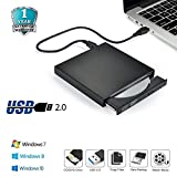 Elephant XuBlack Slim USB2.0 External Player External USB + DVD Combo CD-R/RW CD-ROM/XA DVD-ROM Burner Drive + Power Cord , Supports CD Burning for Computer,Laptop,TV and USB Port Device