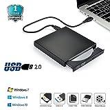 Elephant XuBlack Slim USB2.0 External Player External USB + DVD Combo CD-R/RW CD-ROM/XA DVD-ROM Burner Drive + Power Cord , Supports CD Burning for Computer,Laptop,TV and USB Port Device