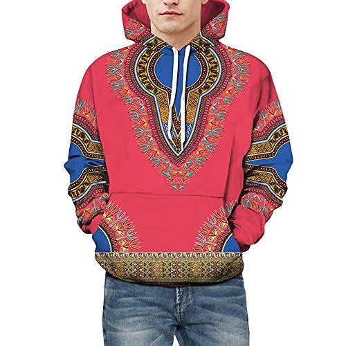 kaifongfu Hooded Men,Autumn Winter African 4D Print Hoodies Sweatshirt Tops Blouse (Red,3XL) for $<!--$14.19-->