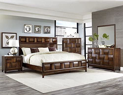 Amazon Com Hefx Furniture Preston Low Profile 5 Piece California King Bedroom Set With Chest In Warm Contemporary Walnut Bed Nightstand Dresser Mirror Chest Furniture Decor