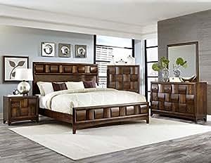 Preston 5 piece queen bedroom set in warm walnut finish kitchen dining Bedroom furniture preston