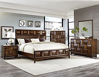 Preston Low Profile 5 Piece California King Bedroom Set With Chest In Warm  Walnut Finish