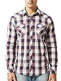 Mens Plaid Casual Dress Shirt Long Sleeve Button Down Shirts (Red/Blue/Burgundy)