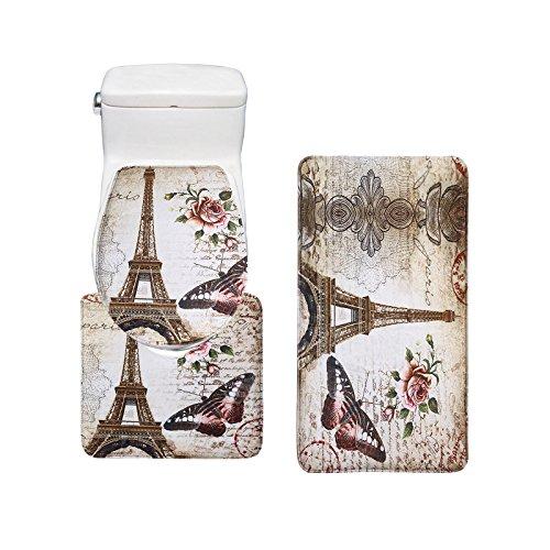Amagical 3 Piece Eiffel Tower Flannel Bath Mat Set (Bathroom Carpet + Pedestal Rug + Toilet Seat - Flannel Tower Eiffel