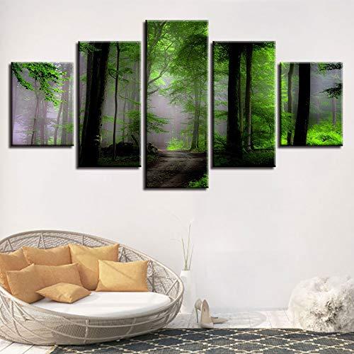 mmwin s Póster Modular s Impresión 5 Piezas Verde Bosque ...