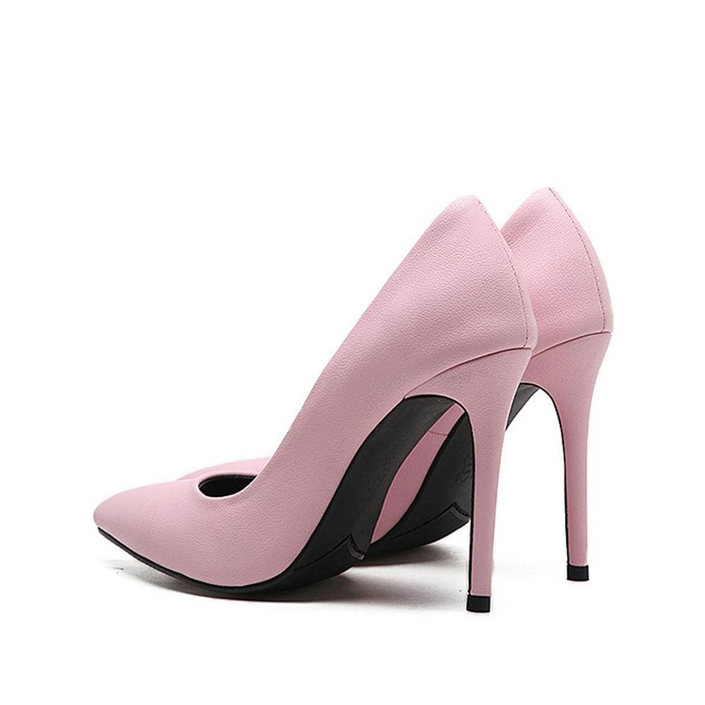 Damen High Heels Leder Schuhe Pumps Casual Geschlossene Zehe Zehe Zehe Party Hochzeit Büro Bühne Rosa Gelb Schwarz Sandalen pink 4315dc