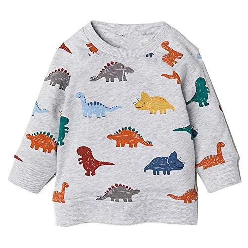 Popshion Toddler Boys Long Sleeve T-Shirts Dinosaur Elephant Sweatshirts Pullover Cartoon Tee Sport Tops for Kids 1-8 Years -