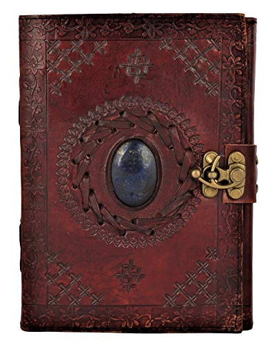 Leather Journal with Semi-Precious Stone & Buckle Closure