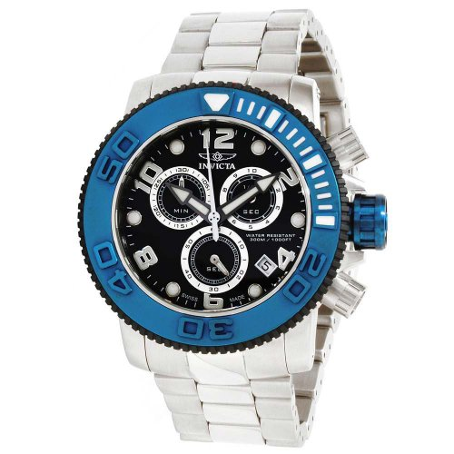 Dial Chronograph Blue Bezel (Invicta Men's Sea Hunter Black Dial Blue Bezel Stainless Steel Chronograph Watch)