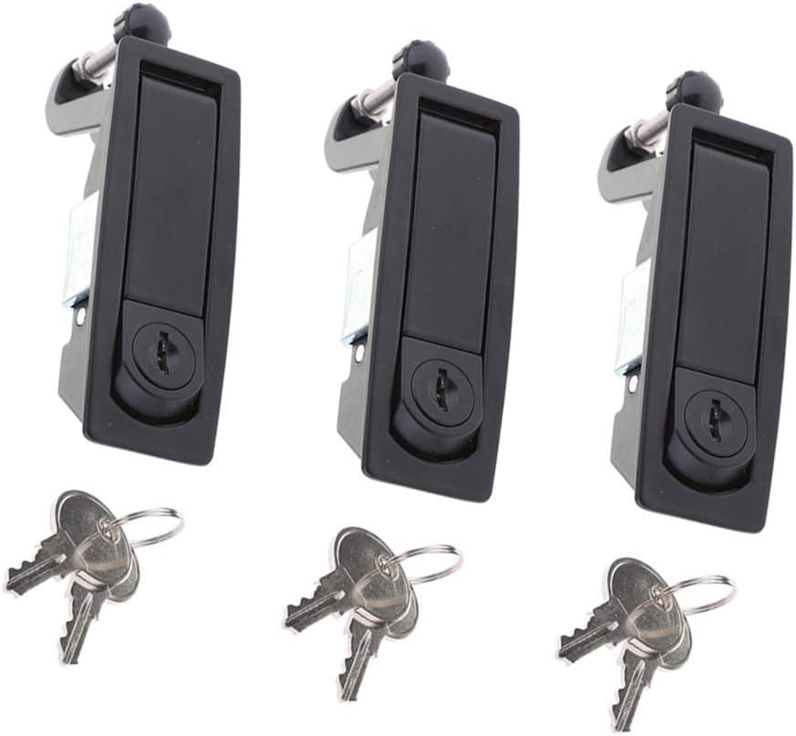 Flush Mount 3pcs RV Boat Door Lock Lever Latch Baggage Locker Locking Latches w//Keys