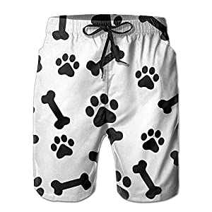 Dog Paw Prints And Bone Men's Summer Casual Swimming Shorts Beach Board Shorts