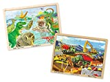 Melissa & Doug Wooden Jigsaw Puzzle Set - Dinosaurs and Construction Site Vehicles