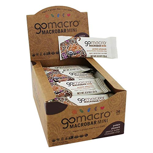 GoMacro Mini Organic Vegan Protein Bars, Peanut Butter Chocolate Chip, 0.90 oz, 24Count