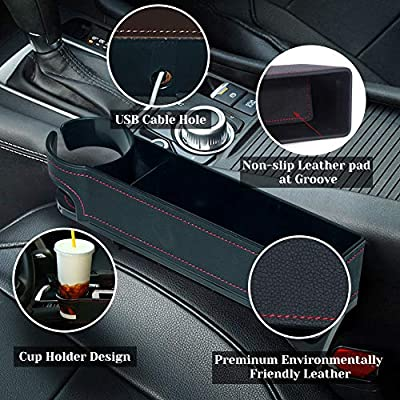 BALMOST Car Gap Filler, PU Leather Console Side Pocket, Car Seat Pocket Organizer Catcher for CellPhones Wallet Coin Key with Cup Holder (Driver Side): Automotive