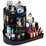 Readaeer 360 Degree Rotating Adjustable Makeup Organizer Cosmetics Lipsticks Perfumes Storage Tray Box (Black)