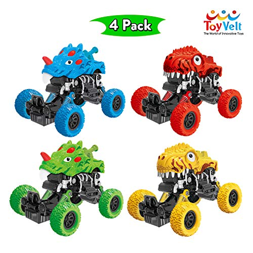 ToyVelt Dinosaur Pull Back Cars Toys - 4-Pack Colorful Dinosaur Car Toy Mini Pullback Vehicles with Big Tires - Great Present for Kids Toddlers Boys and Girls Ages 2, 3, 4 -12 Year Old