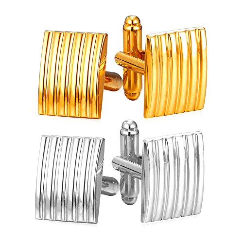 Men Square Gold Tone Cufflinks,2 Pairs Set ()
