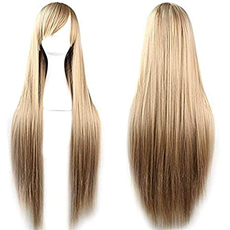 Rbenxia 32 80cm Cosplay Hair Wig Long Straight Hair Heat Resistant Costume Party Full Wigs(light brown)