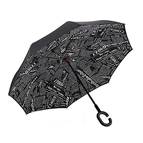 Huiyuzhi Travel Umbrella Waterproof C Shape Double Layer Reverse Umbrella  Black News  One Size