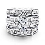 Wisslotus Womens Vintage Trio Cubic Zirconia Cz Marquise 3 PCS Wedding Ring Set Anniversary Gifts for Women (8)