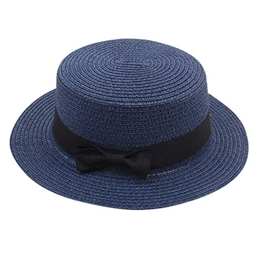- Women's Summer Solid Top Hat Sun Visor Sun Straw Beach Hat UPF50+ Navy