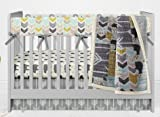 AllTot Crib Bedding Set- Mint, gold, gray Bear Adventure - 4 Piece Organic crib bedding set
