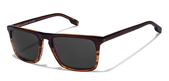 6197d9ed29 Image Unavailable. Image not available for. Colour  John Jacobs Brown Full  Rim Rectangle Unisex Sunglasses ...
