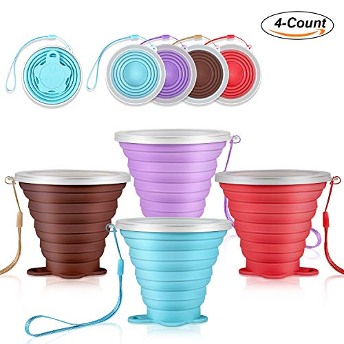 DGHH Collapsible Cups Travel Mugs Folding Camping Cups with Lids Portable Drinking Cup Set- (Silicone) BPA Free by DGHH