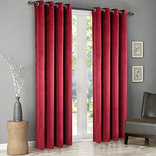SINGINGLORY Red Velvet Curtains 2 Panels Blackout Grommet Window Drapes for Bedroom and Living Room (52 x 96 Inch, Burgundy) (Curtains Velour Red)