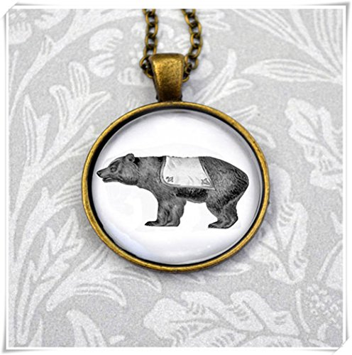 Magical magnet Circus Bear on vintage style antique bronze pendant necklace