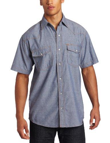 Key Apparel Men's Big-Tall Short Sleeve Western Snap Pre-Washed Chambray Shirt, Blue Chambray, Large-Tall