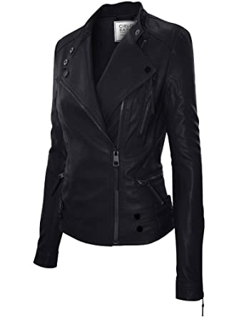 Urban Classic Moto Biker Racer Faux Leather Jacket at Amazon Women s ... e4f39a6d11