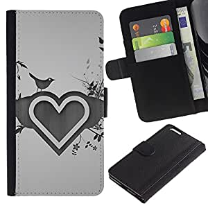 A-type (Minimalista Corazón y Pájaros) Colorida Impresión Funda Cuero Monedero Caja Bolsa Cubierta Caja Piel Card Slots Para Apple (5.5 inches!!!) iPhone 6+ Plus / 6S+ Plus