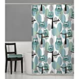 Owl Shower Curtain MAYTEX Owl Fabric Shower Curtain, Teal Multi, 70 inches x 72 inches