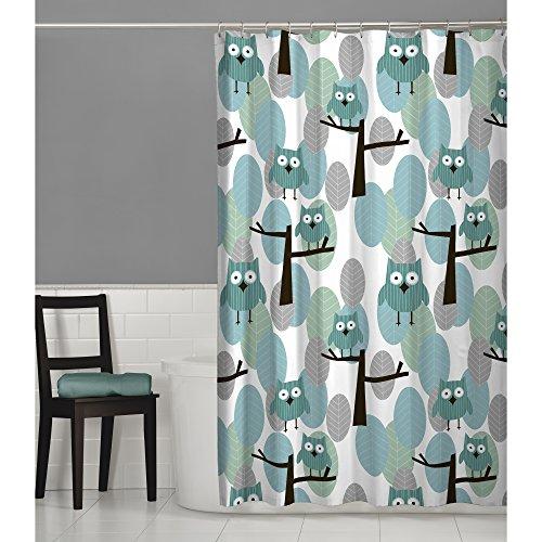 MAYTEX Owl Fabric Shower Curtain, 70X72, Blue (Shower Curtain Owl)