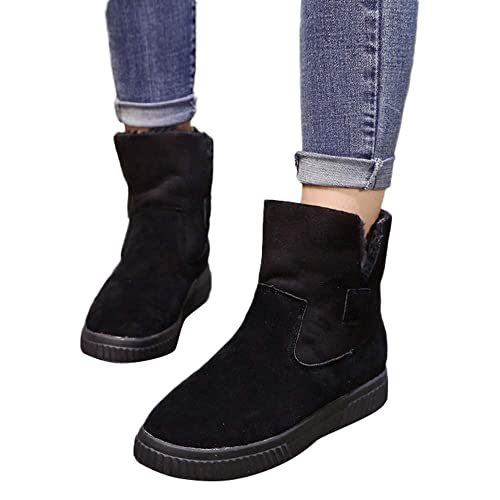 60f3de145d6cc Amazon.com | Women Ankle Boots Winter, Solid Faux Suede Warm Women ...