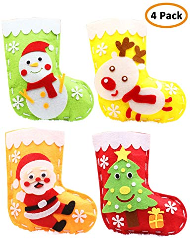 Mimgo-shop Christmas Stocking Sewing Craft for Kids, DIY Felt Sewing Kit for Girls and Boys -