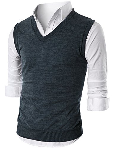 Slim Fit Casual V-Neck Knit Vest CHARCOAL