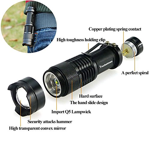 Pack of 6,Pocketman 7W 300LM SK-68 3 Modes Mini Cree Q5 LED Flashlight Torch Tactical Lamp Adjustable Focus Zoomable Light Black