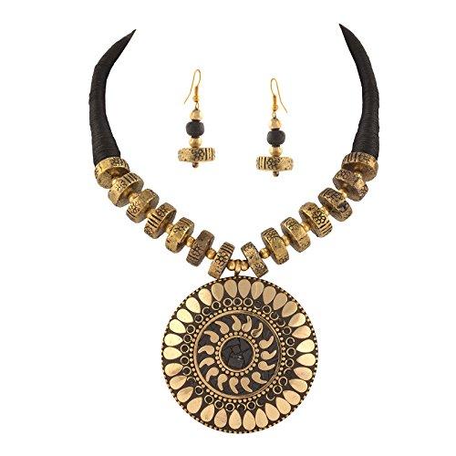 Zephyrr Fashion Junk Tibetan Beaded Pendant Necklace Earrings Set for Women