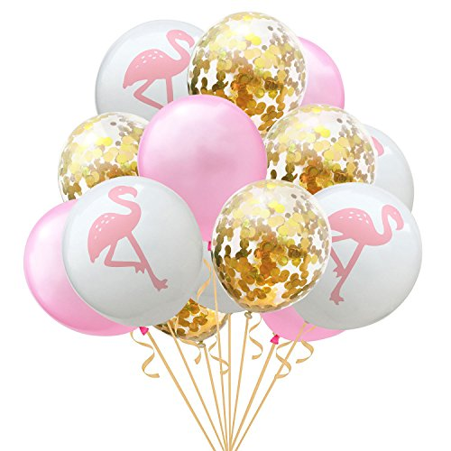 (15 Pack 12 inch Latex Confetti Air Balloons Flamingo Pineapple Turtle Leaf Pearl Balloons for Wedding Decoration Birthday Party Supplies (Style 3))