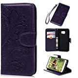 Galaxy S6 Case,Samsung Galaxy S6 Case - Wallet Flip Stand Case Embossed Plants PU Leather Case Shockproof Soft TPU Inner Bumper Slim Protective Card Slots Wrist Strap Cover by Badalink - Purple