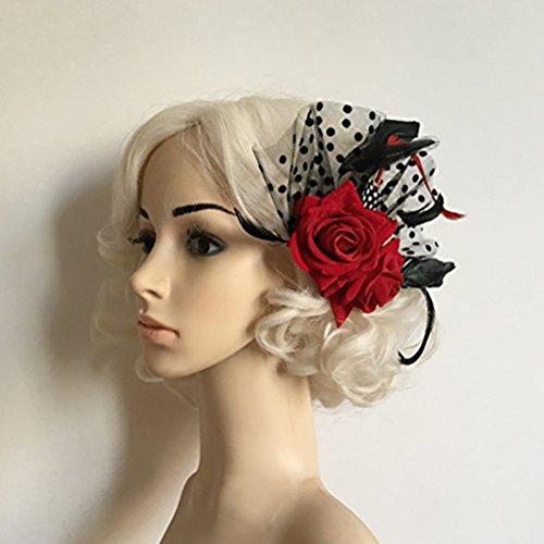 OULII Plumas diadema flor diadema diadema Fascinator nupcial flor rosa roja puntos pelo Clips sombreros boda suministros accesorios de vestir fiesta disfraces, regalo de la Navidad (rojo)
