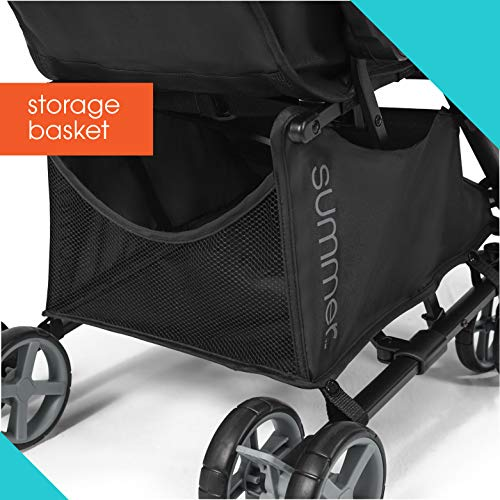 Summer 3Dmicro Super Compact Fold Stroller, Black – Meets Official Airline Carry-On Requirements, Theme Park Approved Baby Stroller – Lightweight Stroller with Reclining Seat, Adjustable Canopy & More