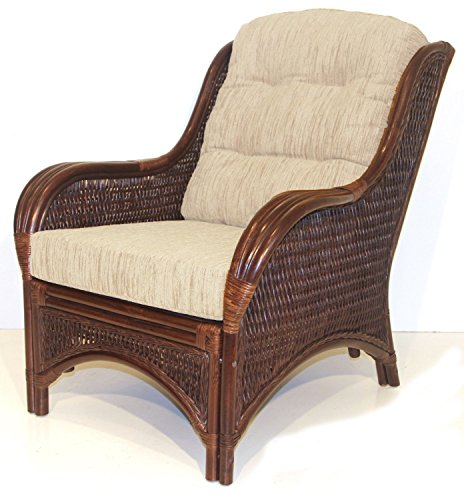 Rattan Wicker Furniture MR-DJM Djem Lounge Armchair with Light Biege Cushion, Dark Brown (Bamboo Wicker Furniture)
