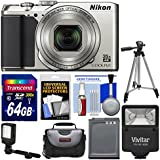 Nikon Coolpix A900 4K Wi-Fi Digital Camera (Silver) with 64GB Card + Case + Flash + Video Light + Battery + Tripod + Kit