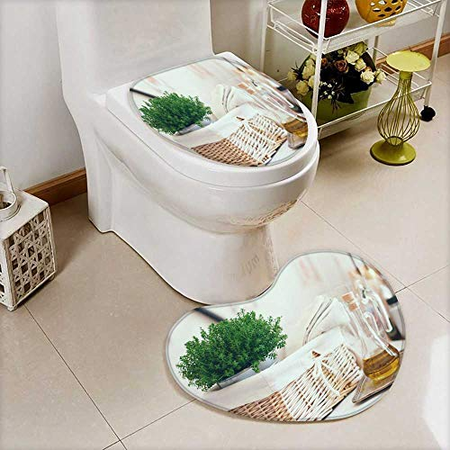 also easy Bathroom Non-Slip Heart shaped foot pad Set real kitchen arrangement vintage wicker basket house plant stack of linen Personalized Durable ()