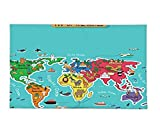 Interestlee Fleece Throw Blanket Colorful Educational Kids Maps Decor Collection America Africa Asia Australia Pacific Indian Atlantic Ocean Image Blue